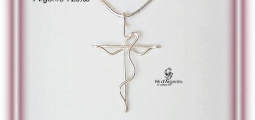 Pendente Croce Crocifisso 1 in Argento 925 Tecnica Wire