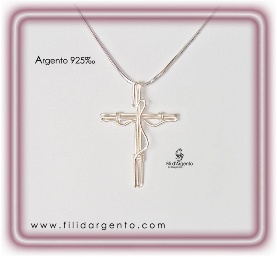 Pendente Croce Crocifisso 2 in Argento 925 Tecnica Wire