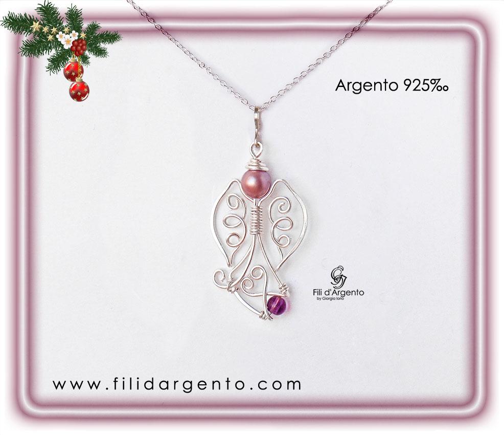 Pendente Angioletto di Natale in Argento 925, Tecnica Wire e Swarovski