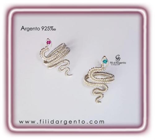 Anelli Serpente in Argento 925 e Swarovki Wire