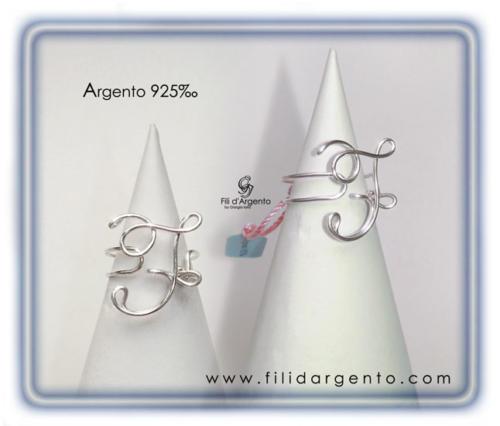 Anello-Iniziale-Lettera-F Argento 925
