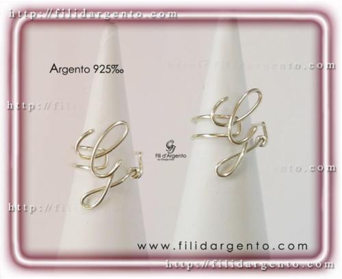 Anello Lettera Iniziale G Argento 925