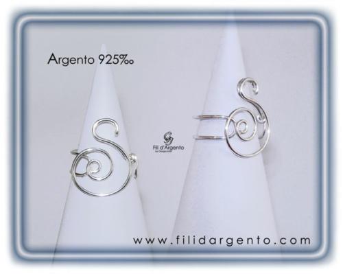 Anello-Lettera-Iniziale-S- Argento 925