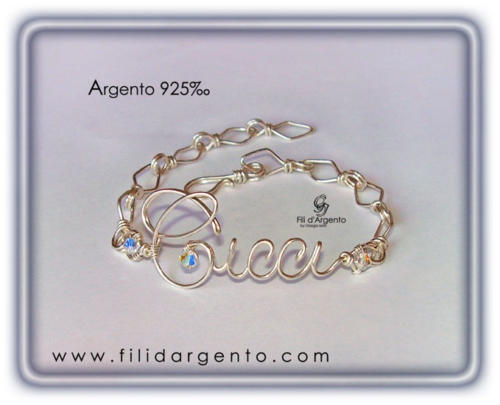 Bracciale-Nome-Cicci-Argento 925 +-Swarovski