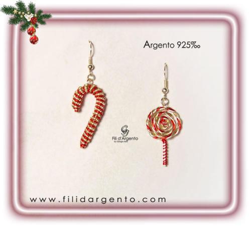 Orecchini Caramelle di Natale in Argento 925 e Rame