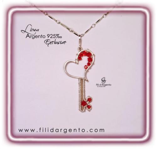 Pendente Chiave con Cuore San Valentino 2014 in Argento 925 Battuto Wire e Swarovski - Exclusive