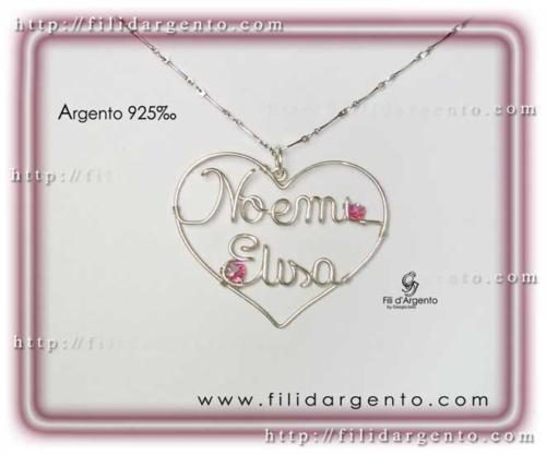 Pendente Cuore con due nomi Noemi-Elisa in Argento 925 e Swarovski