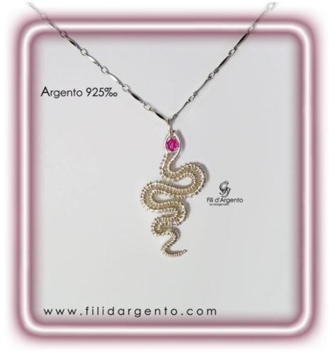 Pendente Serpente in Argento 925 e Swarovki Wire
